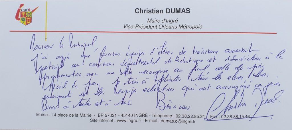 Message de Monsieur Le Maire